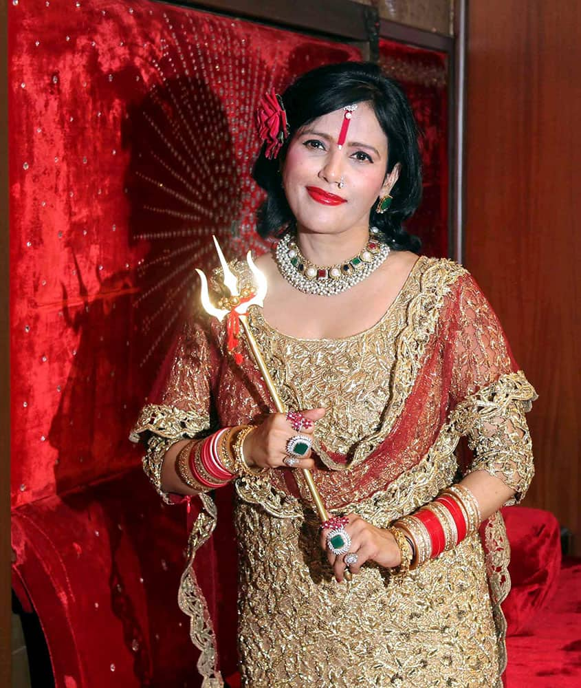 Radhe Maa during an interaction with the media in Mumbai.