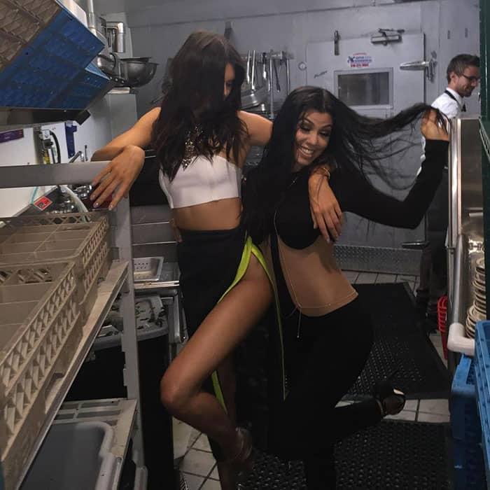 Kourtney Kardashian :- Doing dishes part two with @KendallJenner -twitter
