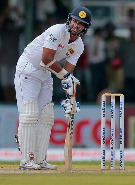 Sri Lanka's Kumar Sangakkara takes his mark to bat during their first cricket test match against India in Galle, Sri Lanka.