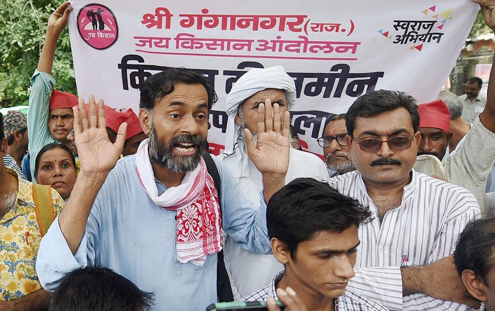 Swaraj Abhiyan leader Yogendra Yadav during a protest march over Land Bill at Parliament Street in New Delhi.