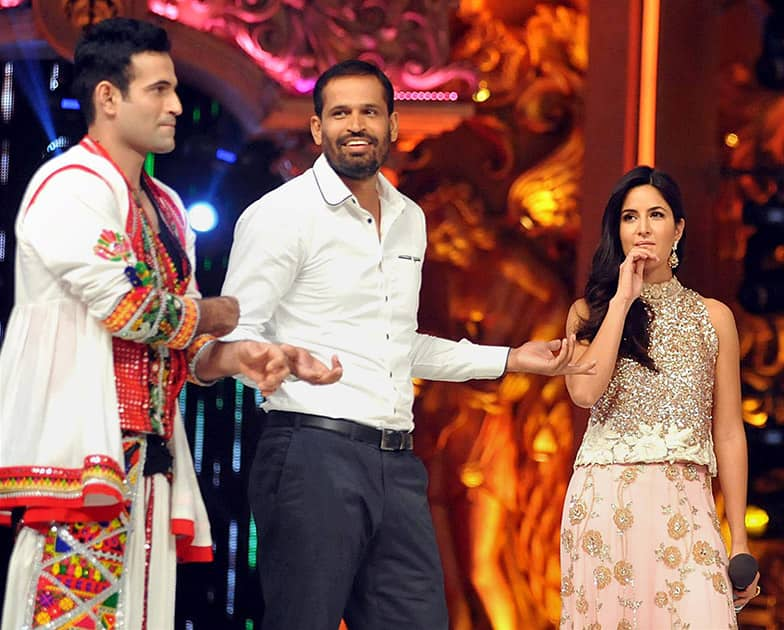 Cricketers Irfan Pathan, Yusuf Pathan and bollywood actress Katrina Kaif during the promotion of film Phantom on the sets of TV reality show in Mumbai.
