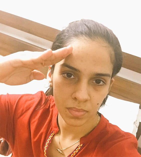 Join me in saluting the real heroes of our country - our soldiers. #SaluteSelfie Twitter@NSaina