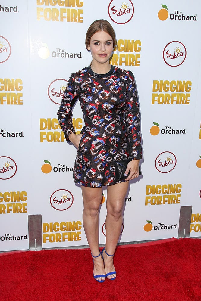 Holland Roden attends the premiere of 'Digging for Fire' at the Arclight Cinema,, in Los Angeles.