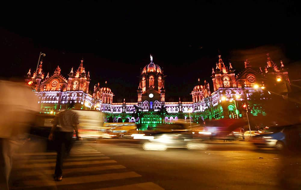 Mumbais Chhatrapati Shivaji terminal, formerly the Victoria Terminus heritage building is seen illuminated for Independence day in Mumbai.