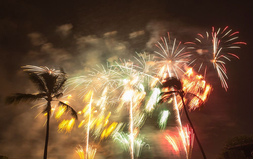 Fireworks from Nagaoka City, Japan explode over Ford Island to celebrate the 70th anniversary of the end of World War II at Joint Base Pearl Harbor-Hickam in Honolulu.