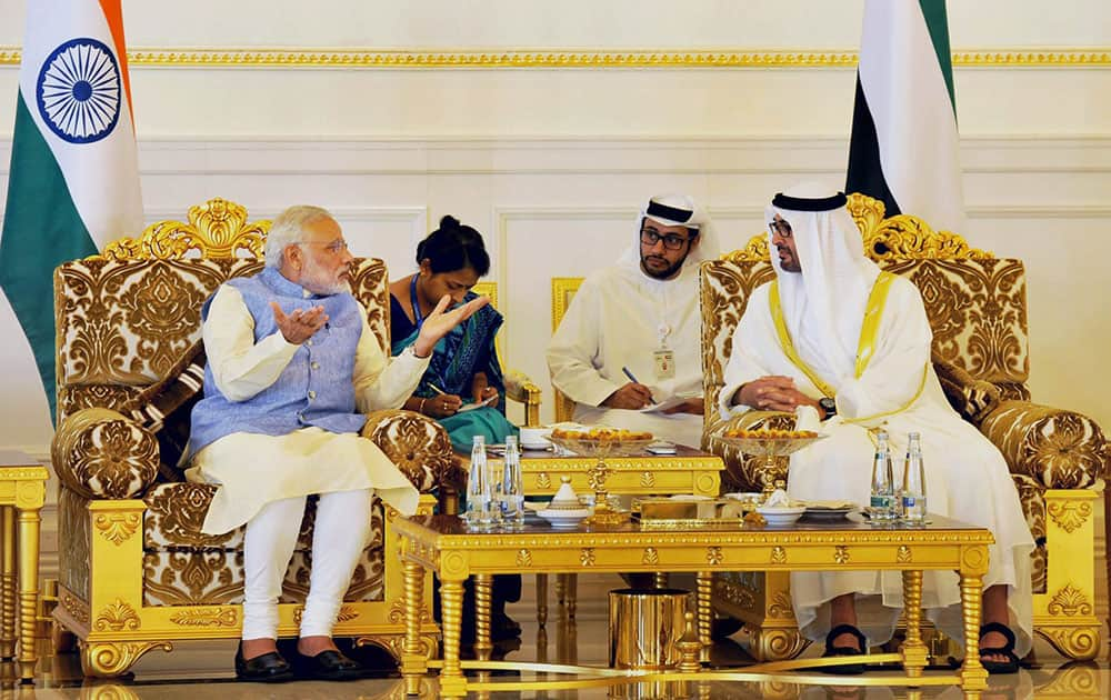 Prime Minister Narendra Modi with Crown Prince of Abu Dhabi, Sheikh Mohammed Bin Zayed al Nahyan in Abu Dhabi.