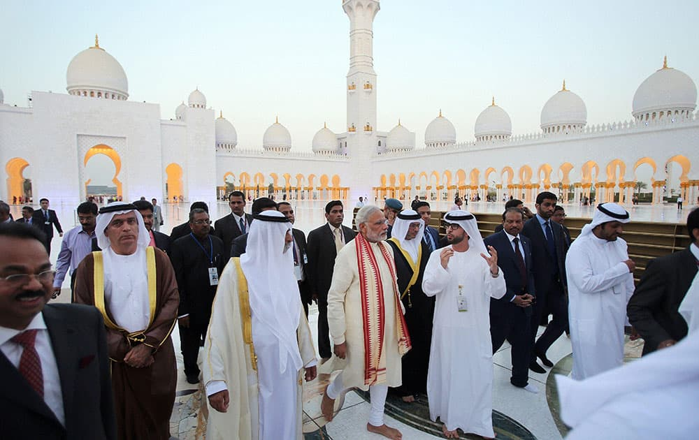 Prime Minister Narendra Modi with Sheikh Hamdan bin Mubarak Al Nahyan, UAE Minister of Higher Education and Scientific Research, at the Sheikh Zayed Grand Mosque on the first day of his two-day visit to the UAE, in Abu Dhabi, United Arab Emirates.