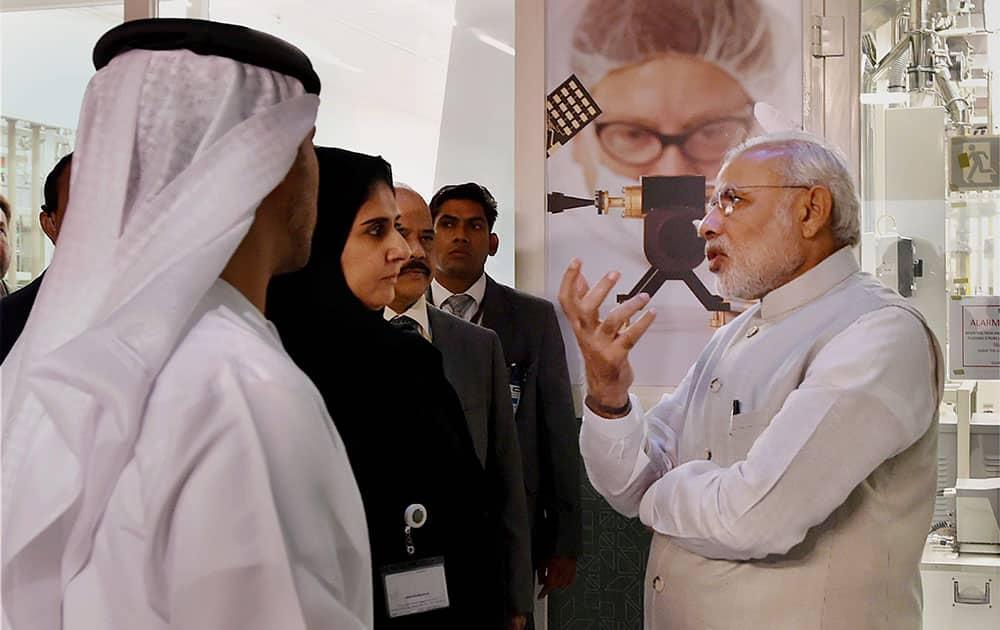 Prime Minister Narendra on his visit to Masdar city in Abu Dhabi, UAE.