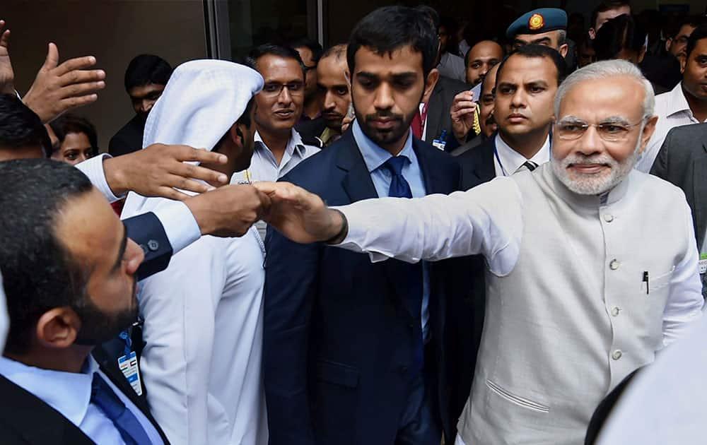 Prime Minister Narendra Modi on his visit Masdar city in Abu Dhabi, United Arab Emirates.
