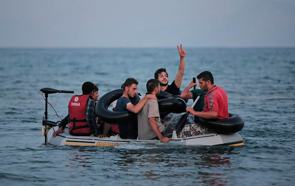 Migrants who tried to cross to the nearby Greek island of Kos, from near the coastal town of Bodrum, Turkey.