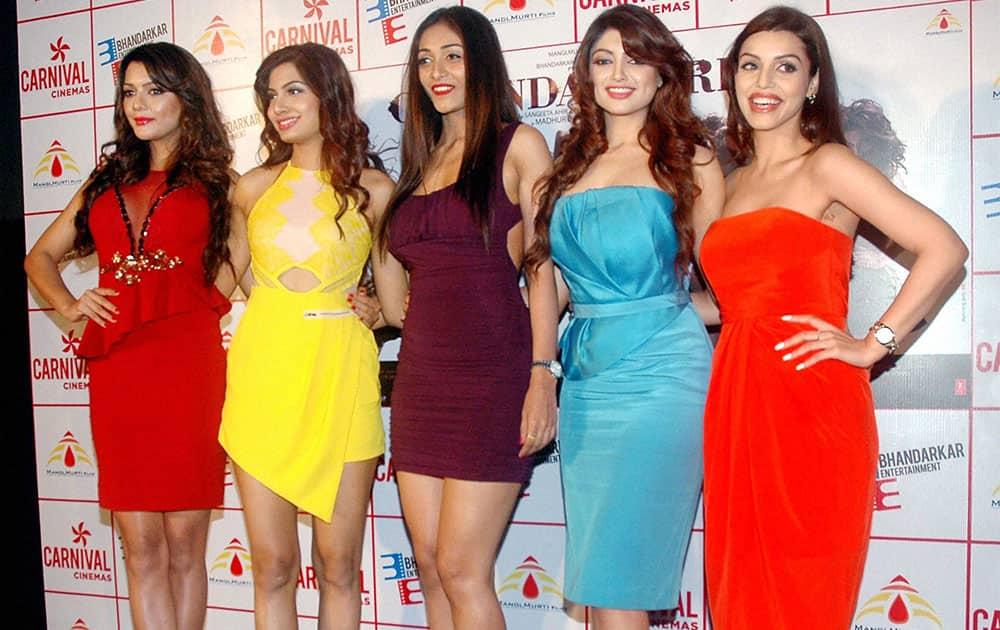 Bollywood actors Akanksha Puri, Avani Modi, Kyra Dutt, Ruhi Singh, Satarupa Pyne during trailer launch of their upcoming film Calendar Girl in Mumbai.