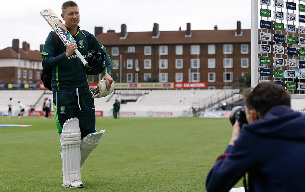 Australia's cricket captain Michael Clarke leaves the pitch after an optional training session at the Oval cricket ground in London. The fifth test starts at the ground on Thursday.