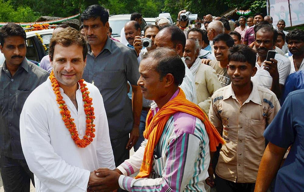 Congress Vice President Rahul Gandhi meeting people at Bhetua village in Amethi.
