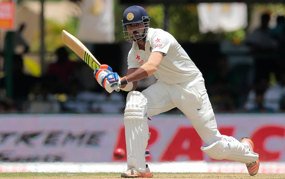 Lokesh Rahul plays a shot during the first day's play of the second test cricket match between Sri Lanka and India in Colombo, Sri Lanka.