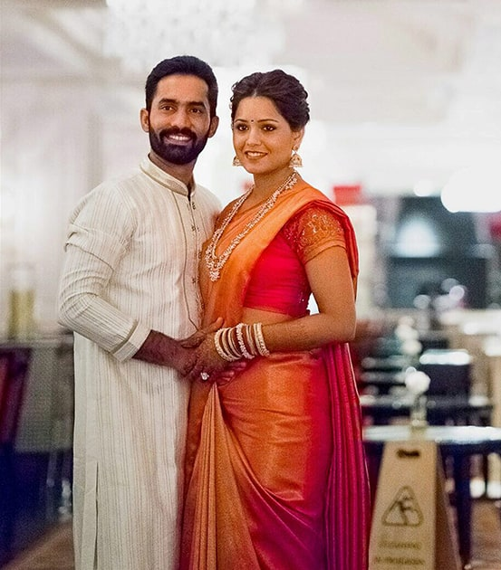 Cricketer Dinesh Karthik and ace squash player Deepika Pallikal during their wedding ceremony.