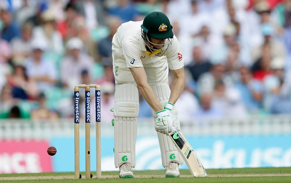 Australia's Adam Voges is bowled out lbw by England's Ben Stokes on the second day of the fifth Ashes Test match between England and Australia, at the Oval cricket ground in London.