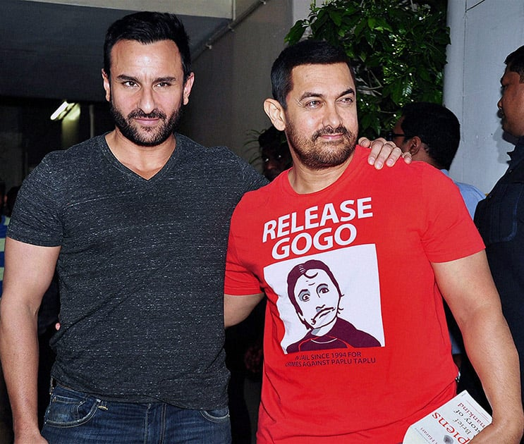 Aamir Khan and Saif Ali Khan spotted in Bandra in Mumbai.