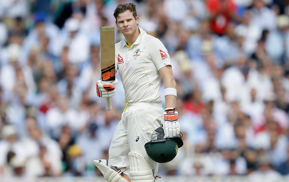 Australia's Steven Smith celebrates making a century on the second day of the fifth Ashes Test match between England and Australia, at the Oval cricket ground in London.