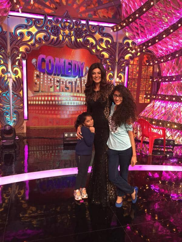 Here are my SUPERSTARS❤ Alisah's first ever visit to my set n Renée, my eternal lucky star #precious memories - Twitter@thesushmitasen