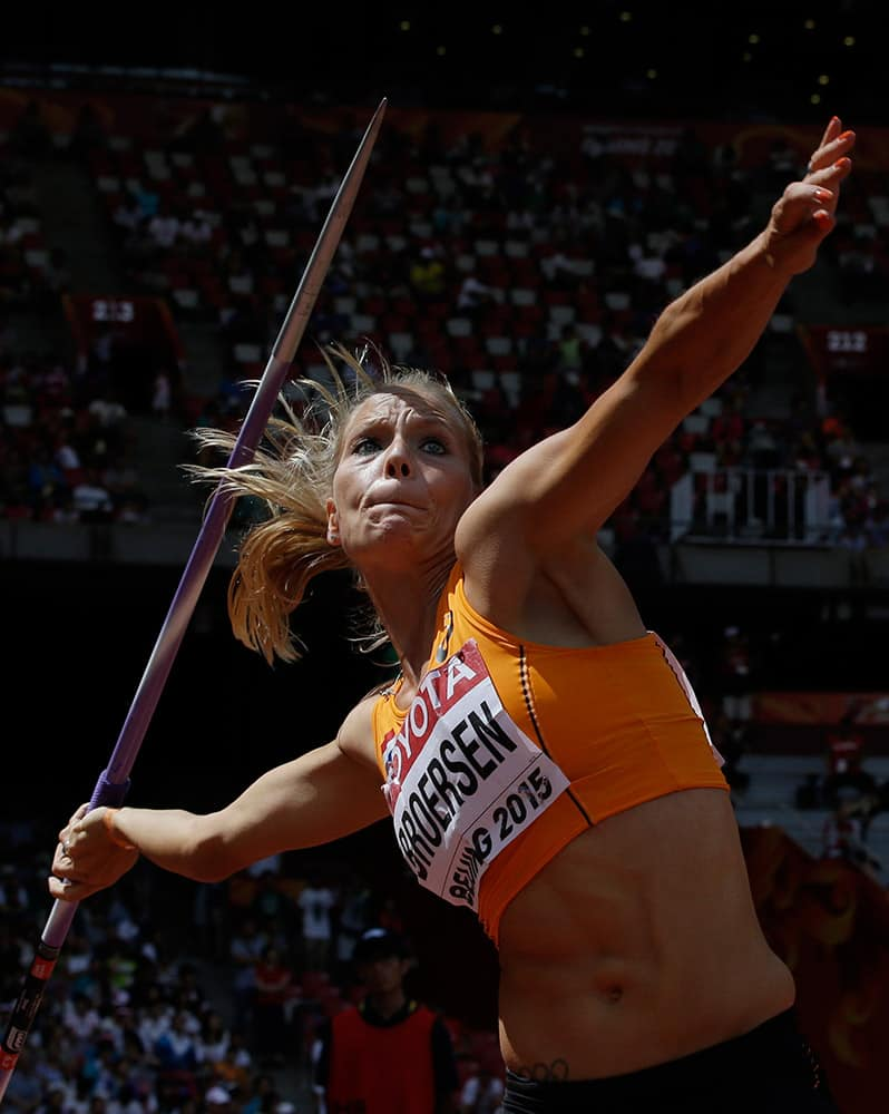 Nadine Broersen of the Netherlands competes in the women's javelin throw heptathlon at the World Athletics Championships at the Bird's Nest stadium in Beijing.