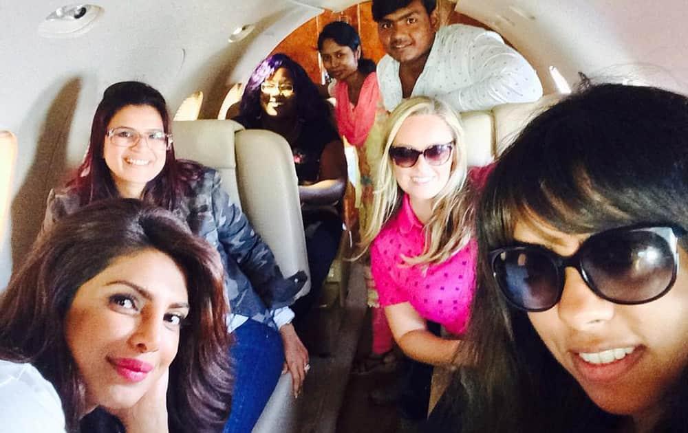 PRIYANKA :- Team PC after a long working weekend! Vineeta ,Andrea  @stephanie_bb jenn, Monish n Basanti -instagram