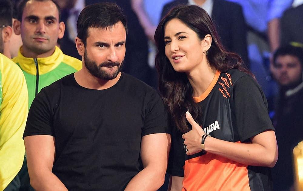 Bollywood stars Saif Ali Khan and Katrina Kaif during the Pro Kabaddi League Finals in Mumbai.