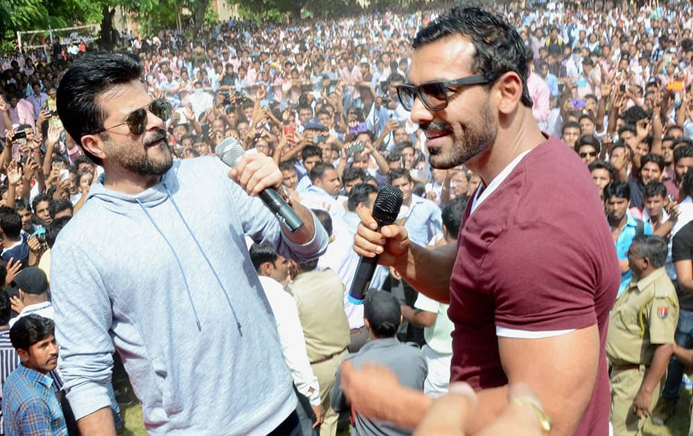 Bollywood actor Anil Kapoor and John Abraham during a promotaional event for their upcoming film Welcome Back in Jaipur.