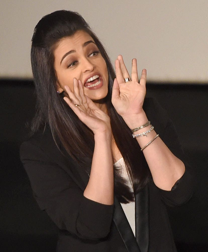 Bollywood actress Aishwarya Rai during the trailer launch of new film Jazbaa in Mumbai.