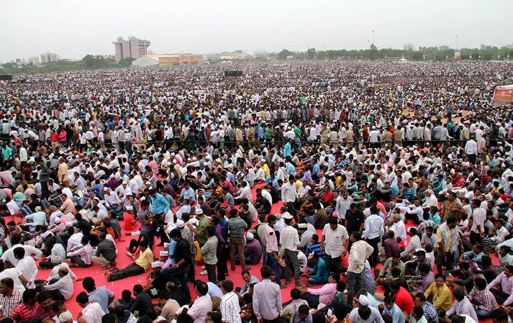 Huge gathering of community members at theKranti rally (revolution march) organised by the Patel ( Patidar) community to press for their demands of reservation, at the GMDC ground in Ahmedabad.