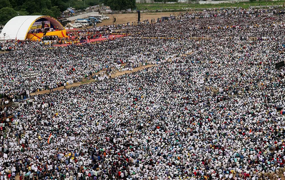 Mass gathering of people from Patel (Patidar) community during the 'kranti rally' or revolution march to press for their demand for reservation.