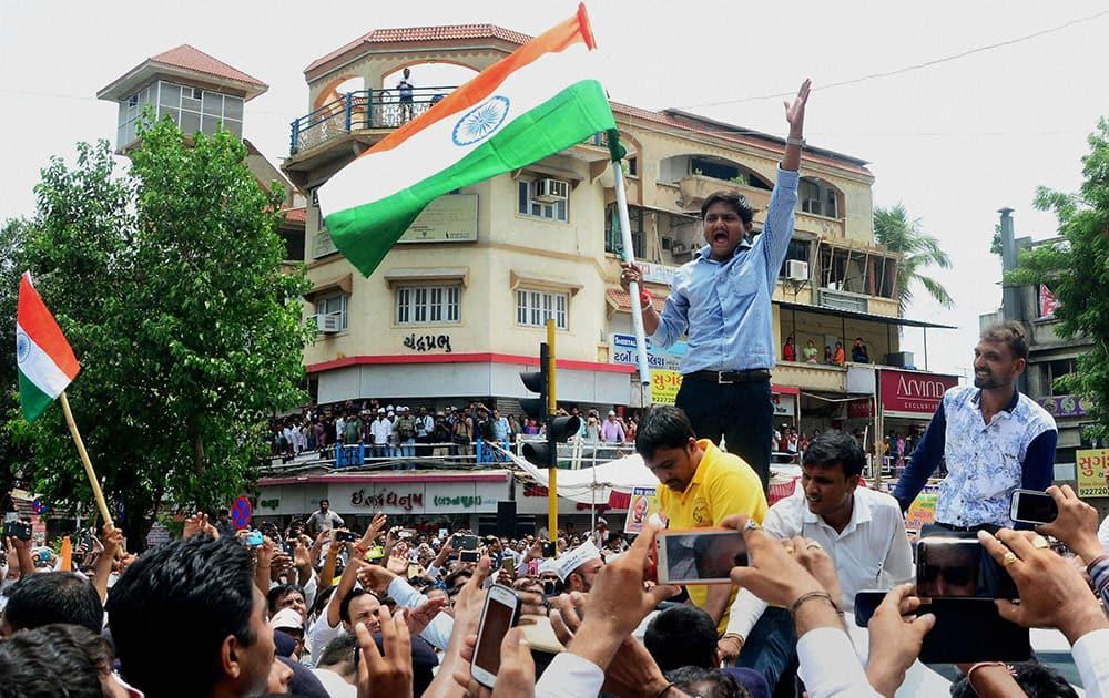 Patidar community leader Hardik Patel leading a rally for reservation in Ahmedabad.