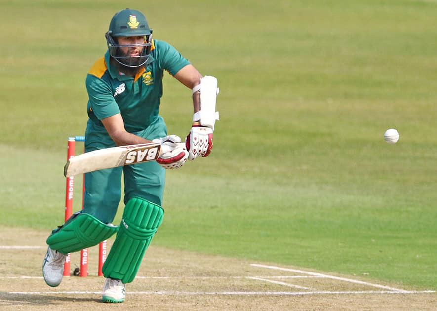 South Africa's Hashim Amla plays a shot during the 3rd One Day International cricket match between South Africa and New Zealand in Durban, South Africa.