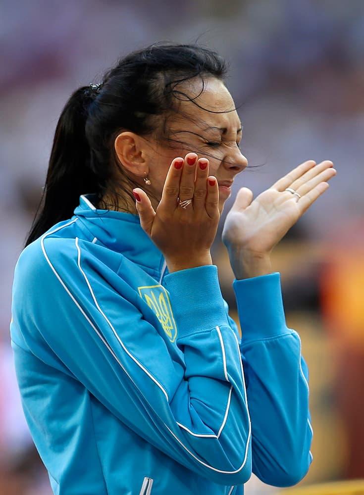 Ukraine's Iryna Gerashchenko prepares to compete in women's high jump qualification at the World Athletics Championships at the Bird's Nest stadium in Beijing.