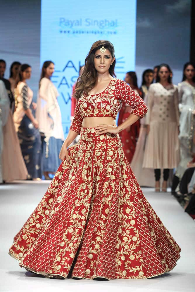 A model walks the ramp during the Lakme Fashion Week Winter Festive 2015, in Mumbai.