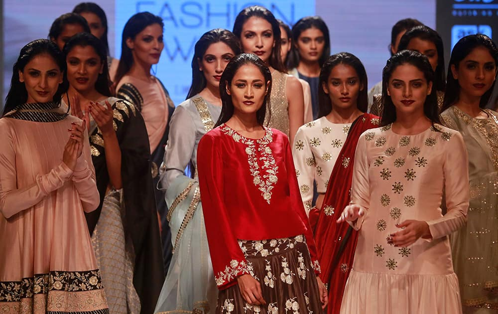 Models display creations of designer Payal Singhal during the Lakme Fashion Week in Mumbai.