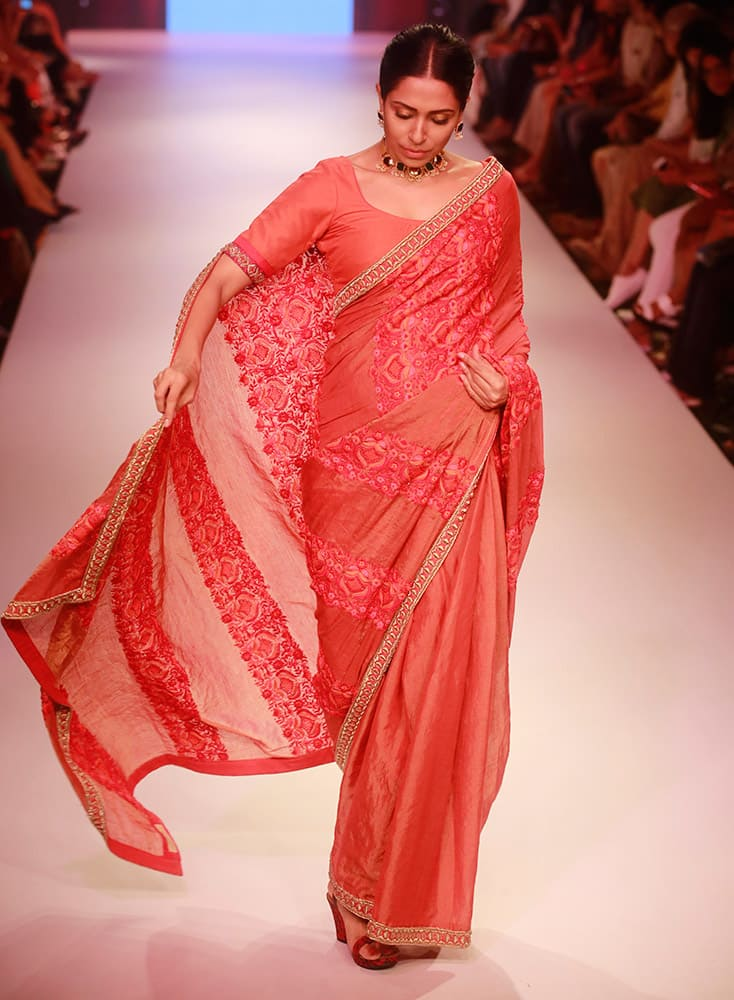 A model displays a creation of designer Soumitra during the Lakme Fashion Week in Mumbai.
