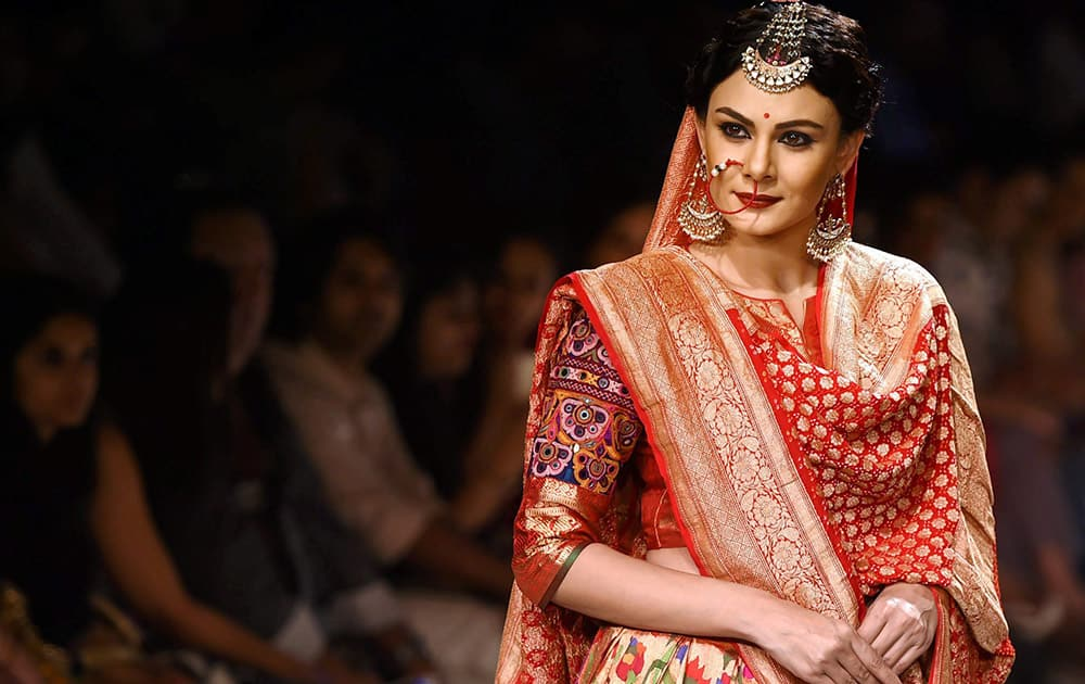 A models walks the ramp during the Lakme Fashion Week in Mumbai.