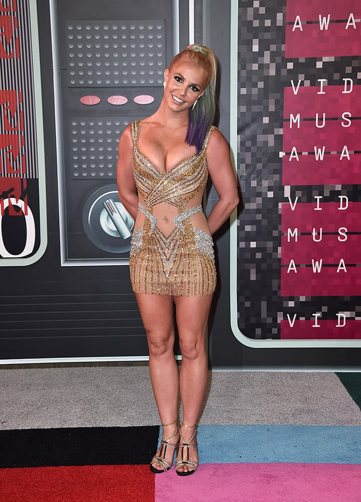 Britney Spears arrives at the MTV Video Music Awards at the Microsoft Theater in Los Angeles.