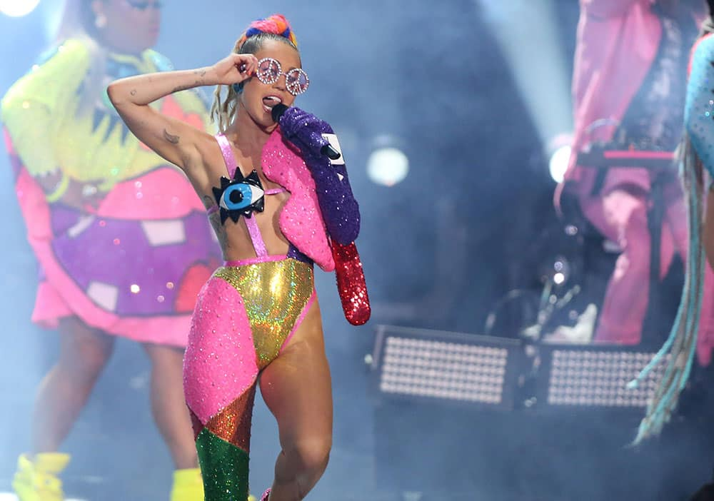Miley Cyrus performs at the MTV Video Music Awards at the Microsoft Theater.