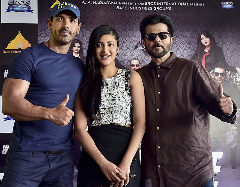Anil Kapoor, John Abraham and Shruti Hassan at a promotional event for their upcoming film Welcome Back in New Delhi.