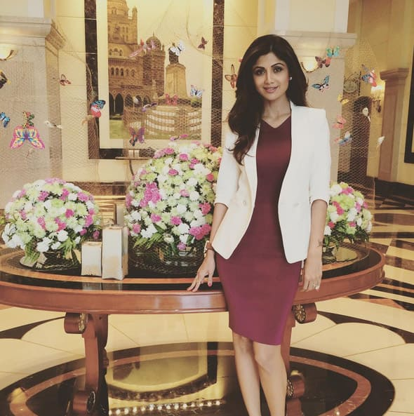 Wearing Gucci and a Ted Baker jacket and Kurt Geiger pumps - Instagram@officialshilpashetty