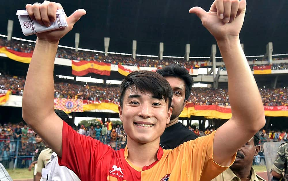 East Bengal player Do Dong-hyun celebrates after scoring 2 goals against Mohun Bagan at a derby clash of Calcutta Football League Premier Division in Kolkata.