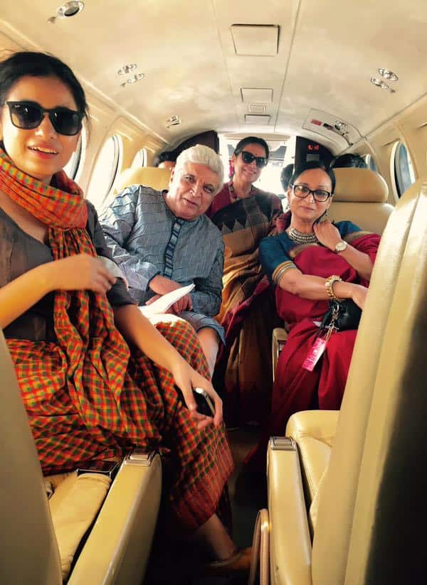 With sisters in law and miya on the way to Khairabad. Notice how Akhtars have marginalised me. Twitter@AzmiShabana