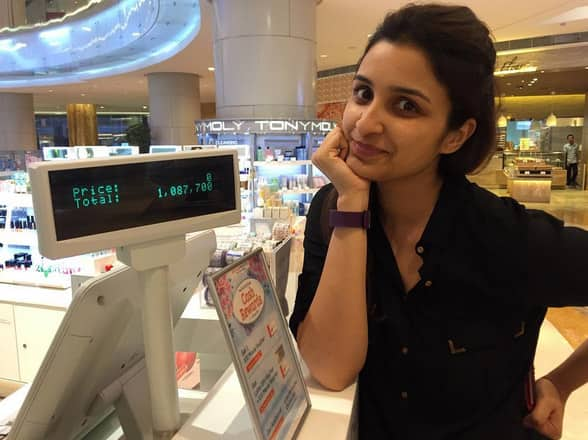 I paid 1 million for 2 shirts!!!! #CrazyCurrency #Jakarta - Instagram@parineetichopra