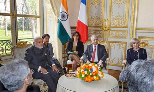 Prime Minister Narendra Modi attends a meeting with French national Assembly President Claude Bartolone in Paris.