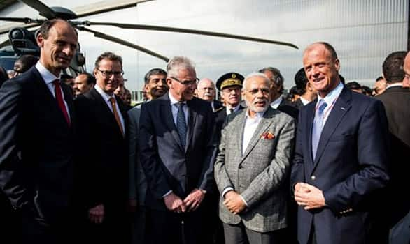 Tom Enders, Airbus Group CEO and Prime Minister Narenda Modi visit the Airbus A380 Final Assembly Lane, in Blagnac, Southern France.
