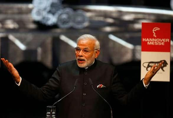 India's Prime Minister Narendra Modi speaks at the opening of the industrial fair in Hanover, Germany, Sunday, April 12, 2015.