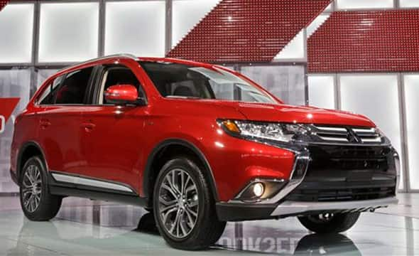 The Mitsubishi Outlander is presented at the New York International Auto Show, Thursday, April 2, 2015, in New York.