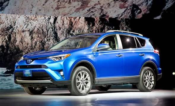 The 2016 Toyota RAV4 Hybrid is presented at the New York International Auto Show, Thursday, April 2, 2015.