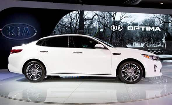 The 2016 Kia Optima is presented at the New York International Auto Show, Wednesday, April 1, 2015.